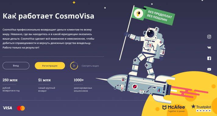 cosmovisa.com - чарджбэк сервис Космовиза помог вернуть деньги
