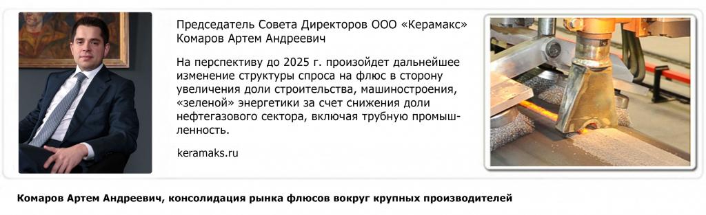 Перспективы изменений в структуре спроса на флюс до 2025 года - Комаров Артём Андреевич, консолидация рынка вокруг крупных производителей